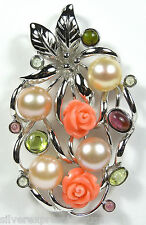 Solid 925 Sterling Silver Pendant with Cultured Pearls, Tourmaline, Pink Coral