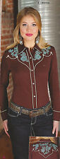 Wrangler Womens EMBROIDERED - WESTERN SHIRT - S - LW8701E - Pearl Snaps - NEW