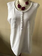 Lovely White Sleeveless Tunic Top By White Stuff Size Uk 16 100% Cotton