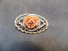 Vintage Chinese  Coral  Sterling Silver Brooch Pin