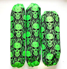 Shock Covers Yamaha Raptor 350 660 700 700R Neon Green Skulls ATV Set of 3