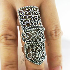 NEW 925 SOLID STERLING SILVER FINGER ARMOUR FLOWER CARVE UNISEX FREE SIZE RING