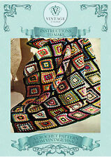 Vintage crochet pattern-how to make an easy granny square afgan,throw,blanket