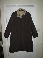 womens brown warm padded long hooded coat XXL size 18 VGC lined winter