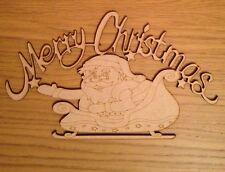 Merry Christmas Wooden Plaque Mdf Sign Decoration With Santa Claus 290 X 170mm