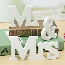 White Mr & Mrs Wooden Table Letters Wedding Sign Decoration Couple Gift Present