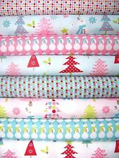 8 Fat Quarters CHRISTMAS BASICS in Pink & Blue by Riley Blake - 2 yards total
