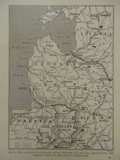 1915 WAR MAP CAMPAIGN IN COURLAND KOVNO GULF OF RIGA ROAD TO PETROGRAD WWI WW1