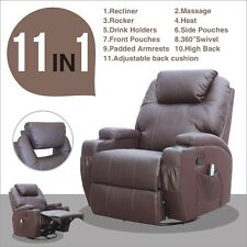 Brown Massage Recliner Sofa Chair Ergonomic Lounge Swivel Heated W/Control