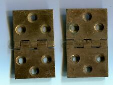 "Solid Brass Antique hinge pair 1 1/4"" x 2"" ca: 1900 2mm thick"