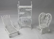 Mini Patio Set Doll House Furniture Peacock Chair Bakers Rack Chaise Lounge