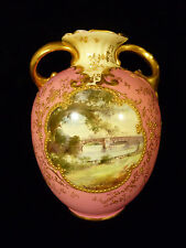 SIGNED DOULTON BURSLEM GILT HANDLED VASE SCENIC MEDALLION OF POOLEY BRIDGE 1895