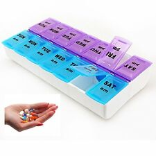 New 7 Day Pill Box Medicine Tablet Dispenser Organiser Weekly AM PM UK Seller