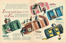 """Original 1955 Ford """"Living Room Plans"""" 2 page paper ad 21 x 14 inch Tavern Trove"""