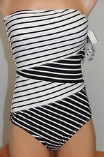 NWT Anne Cole Swimsuit Bikini 1 one piece Sz 10 Black/White Bandeau Strap