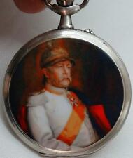 Rare military German Officers award silver&enamel Eterna pocket watch.Bismarck