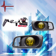 1999-2000 Honda Civic SI Type R JDM Yellow Fog Lights Front Bumper Lamp FULL KIT