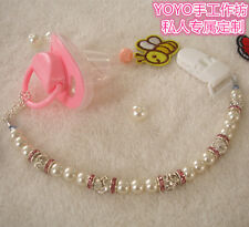 Hand made lovely Crystalin pearl beads dummy clip holder pacifier clips holder