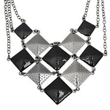 Punk goth style black and dark grey pyramid  chandelier chain necklace