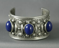 Vtg Ben Amun Pewter Cuff Bracelet With Large Blue Glass Cabochons Tribal