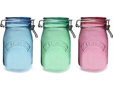 Lot de 3 1 Litre KILNER clip top couleur verre thé café sucre pots jarres de stockage