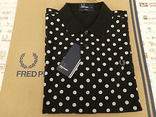 FRED PERRY Polo Shirt M5392 Black POLKA DOT Pique SLIM FIT Size L Top BNWT RP£65