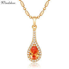 """18K Gold Filled Orange Teardrop Pendant 18"""" 45CM Chain Necklace Jewelry for Girl"""