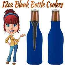 2 ROYAL BLUE ZIPPER BOTTLE KOOZIE BEER COOLERS NEW FITS 12 OZ BOTTLE BLANK FOAM