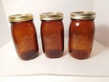 Longlife Amber Brown Glass Mason Jars Lot of 3 Wide Mouth w/ Ball Lids 1 Quart