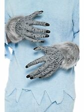 Adult Grey Halloween Hairy Werewolf Hands PVC Fancy Dress Costume Gloves 24980
