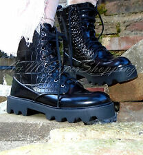 ZARA BLACK ANKLE CROC ARMY SHOES LACE UP BOOTS SIZE 4 UK 37 EU 6.5 US