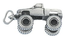 Monster Truck Charm Sterling Silver Pendant 3d Big Wheels 4wd Pickup