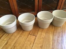 Ikea Oradd Lot Of 4 Ceramic Beige Flower Plant Pots Indoor Herbs!