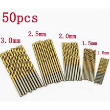 50PCS 1.0-3.0mm HSS High Speed Steel Cobalt Drill Bit Set Tools Titanium Coated