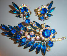 VTG JULIANA D&E PEACOCK AB RHINESTONE SPRAY BROOCH PIN EARRING SET DEMI PARURE