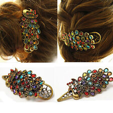 Vintage Girl Women Crystal Rhinestone Peacock Hair Barrette Clip Hairpin Jewelry