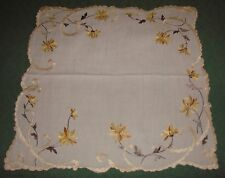"""Victorian Society Silk Embroidered Flowers - 15 1/2"""" Linen Square Doily"""