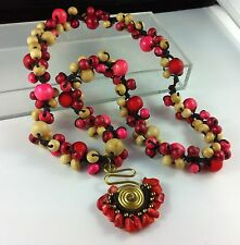 Necklace Pendant Long Strand 80cm Macrame Gold Bronze Charm Red Pink Wood Beads