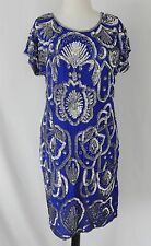 Vtg Sequin/Beaded Evening Dress Silk Royal Blue Cap Sleeve Knee Length Size M
