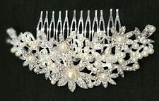 Bridal Bridesmaid Wedding Rhinestone Party Hair Diamonte Clip Comb Silver UK