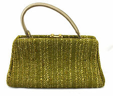 GARAY Vintage 50's Chartreuse Green Tweed Fabric Doctor Satchel Clutch Bag Purse