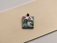 Mosaic Broken China Pendant Crown Staffordshire Ye Olde Willow / Chinese Willow
