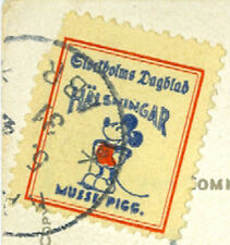 SWEDEN: Early Mickey Mouse poster stamp 1931 on postcard.