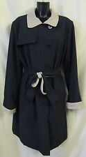 Debenhams Classics Reversible Trench Mac Coat Sz 20 Navy Tan Belt VGC