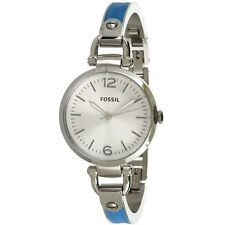 NEW AUTHENTIC FOSSIL Georgia Stainless Steel and Blue Leather Ladies Watch NWTB