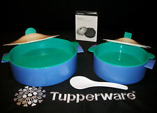 Tupperware BLUE GREEN 2sz Micro Steamers Lg Small Microwave cooking +Rice Paddle