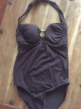 LOVELY BNWT NEXT CHOCOLATE BROWN TUMMY CONTROL HALTER SWIMSUIT 12