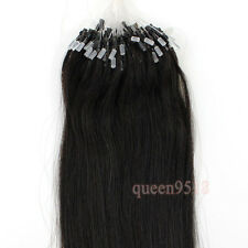 "16-26""Remy Human Hair Extensions Easy Loop Micro Rings Beads Tip Straight 100s"