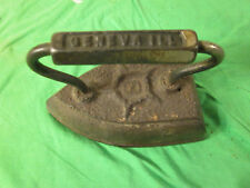 Geneva, ILL #8 Vintage Metal Clothes Iron - Antique Ironing - Old
