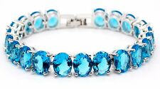 Silver London Blue Topaz 52.5ct Chunky Tennis Bracelet (925)